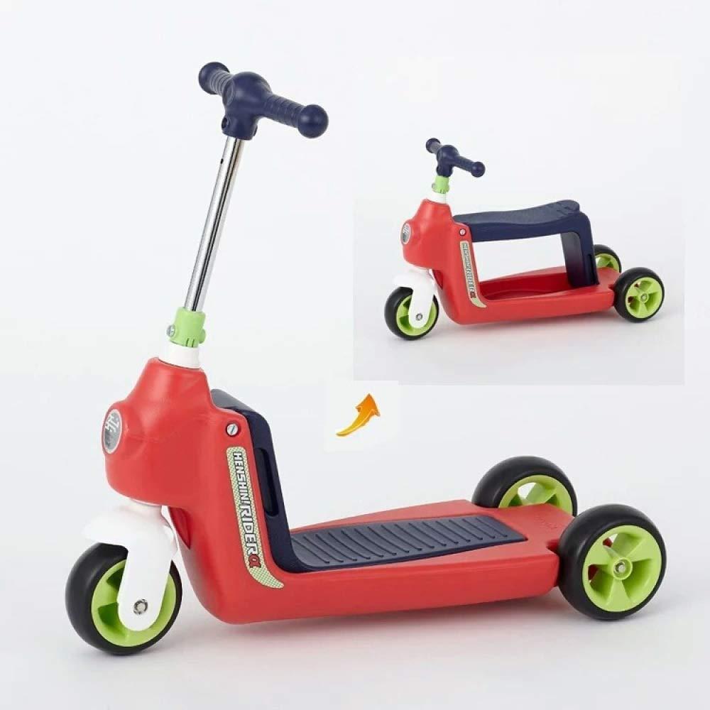 rouge  Voiture D'équilibre Réglable De Taille De Poignée De Scooter d'enfants De Scooter De 3 Roues pour 1-6 Ans Walker Multifonctionnel bleu