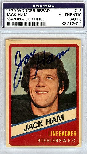 Jack Ham Signed 1976 Wonder Bread Card #18 - PSA/DNA Authentication - Autographed NFL Football Memorabilia