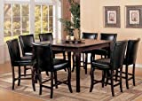 9pc Counter Height Dining Table & Stools Set with Lazy Susan Dark Cherry Finish