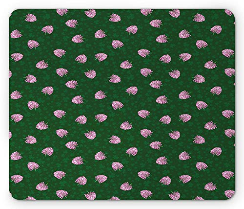 Shamrock Mouse Pad, Clover Silhouettes Background with Botanical Spring Wildflower Arrangement, Standard Size Rectangle Non-Slip Rubber Mousepad, Emerald and Pink,9.8 x 11.8 x 0.118 Inches