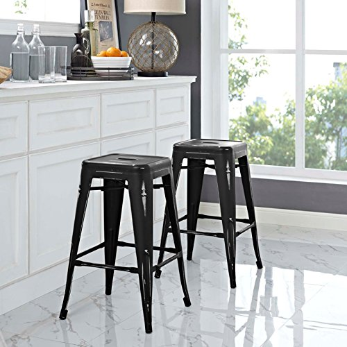 Modern Urban Industrial Distressed Antique Vintage Counter Stool Chair ( Set of 2), Black, Metal by America Luxury - Stools (Image #1)