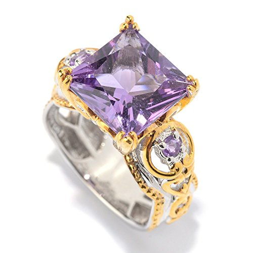 Michael Valitutti Palladium Silver Princess Cut Brazilian & African Amethyst Cocktail Ring by Michael Valitutti
