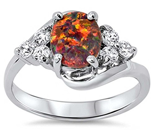 THE ICE EMPIRE Large Oval-cut Lab created Black Lab Opal Clear Sterling Silver Ring 5-9