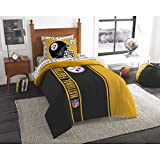 5 Piece NFL Pittsburgh Steelers Comforter Set Twin Size, Dorm Sports Fan Bedding, National Football League Themed Featuring Team Logo Printed College Unisex Sport Fans Bedroom, Yellow Black Multicolor