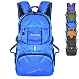 Bekahizar Lightweight Backpack 35L Foldable Daypack Packable Day Bag for Outdoor Sports Hiking Trekking Camping Cycling Traveling Day Trips (Blue)