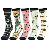 Funky Socks,J'colour Unisex Holiday Art Animal Patterned Fun Design Casual Dress Uniform Team Sports Soft Gift Pets Dogs Print Crew Socks 5 Pairs for Men Women