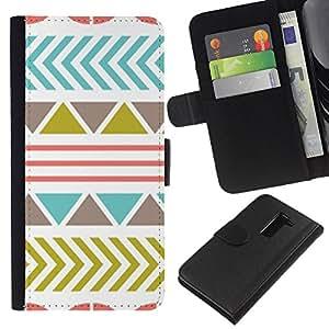 KLONGSHOP // Tirón de la caja Cartera de cuero con ranuras para tarjetas - Patrón de oliva trullo abstracto rosado - LG G2 D800 //