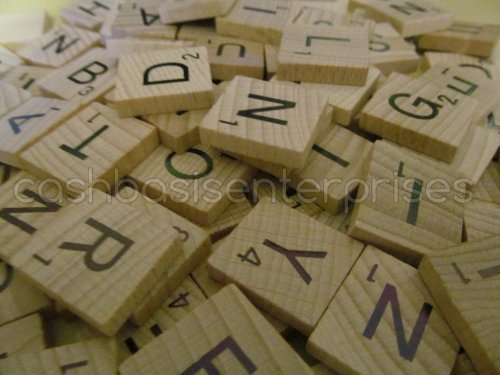1000 Scrabble Tiles - NEW Scrabble Letters - Wood Pieces - 10 Complete Sets - Great for Crafts, Pendants, Spelling by Fuhaieec by Fuhaieec