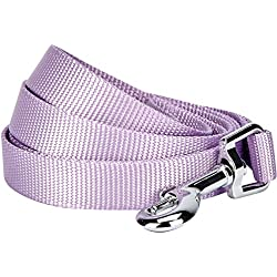 "Blueberry Pet 19 Colors Durable Classic Dog Leash 5 ft x 5/8"", Lavender, Small, Basic Nylon Leashes for Dogs"
