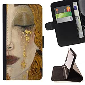 Momo Phone Case / Flip Funda de Cuero Case Cover - Rubia Cara Cabello Labios Cry Sad - Huawei Ascend P8 Lite (Not for Normal P8)
