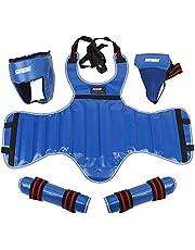 HelloCreate Sprzęt ochronny do walki 4 szt./zestaw uniwersalny outdoorowy boks bojowy sprzęt ochronny głowa ciało pachwiny ochraniacz nóg (niebieski M)