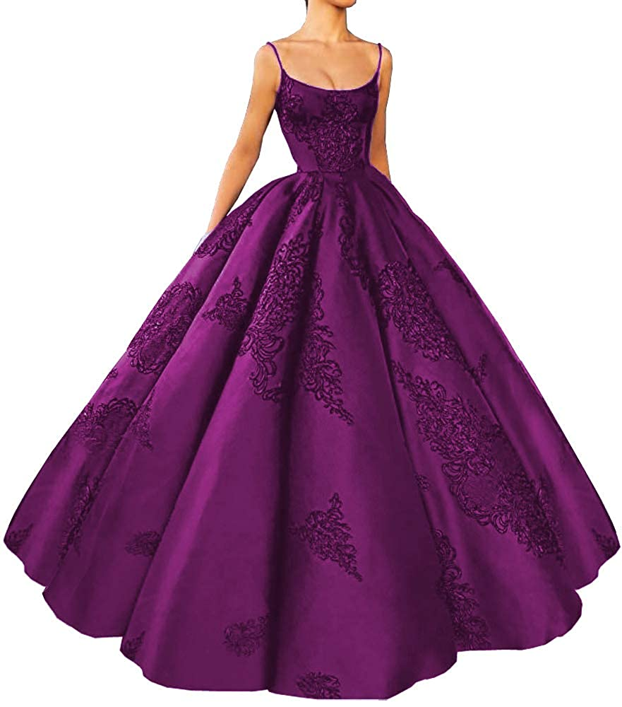 Dark Purple M Bridal Women's Long Embroidery Spaghetti Straps Quinceanera Dresses Ball Gowns