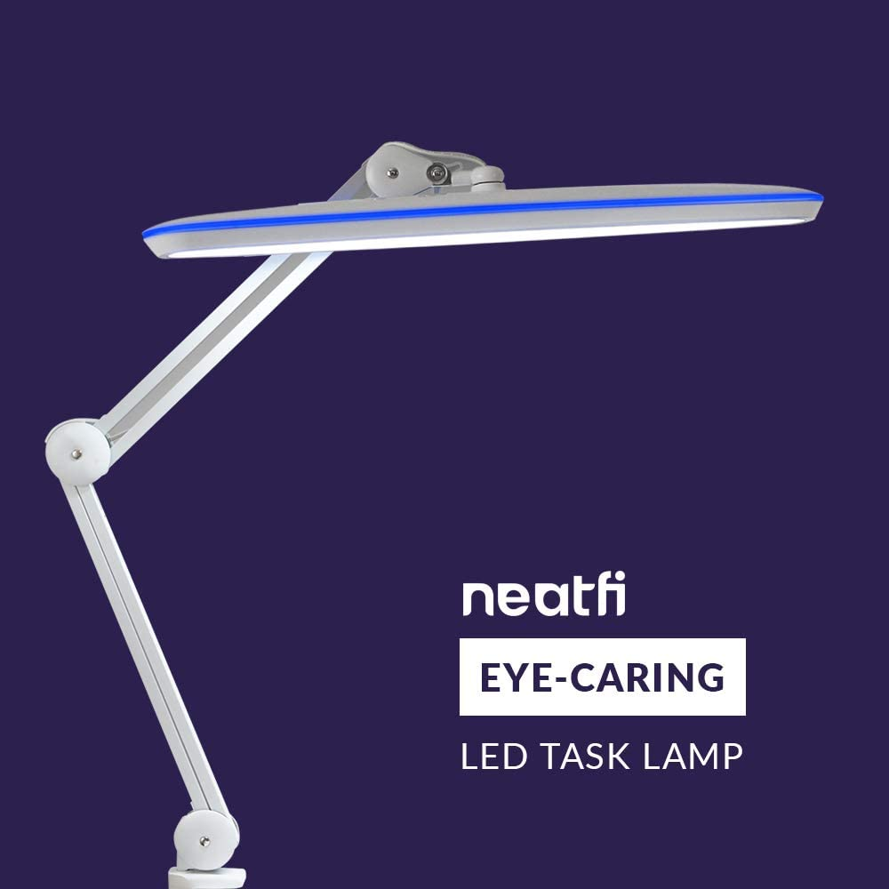 Table Clamp LED Light 4 Level Brightness Rose Gold 24W Super Bright Desk Lamp Neatfi XL 2,200 Lumens LED Task Lamp with Clamp 117 Pcs SMD LED Dimmable Eye-Caring LED Lamp 20 Inches Wide Lamp