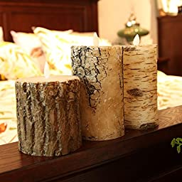 Remote Included Flameless Moving Wick LED Candle with Timer/ bark pattern set of 3