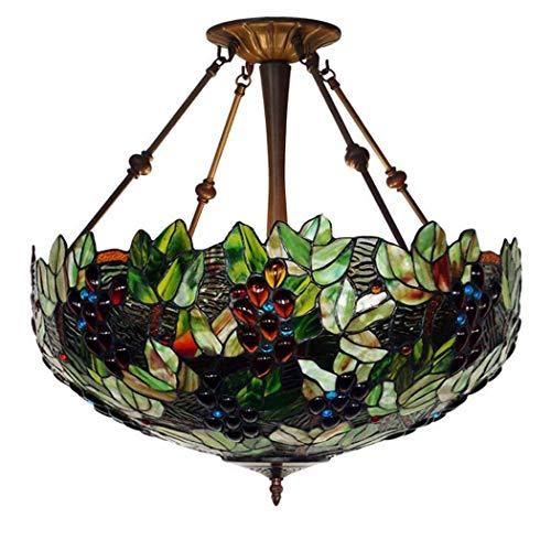 - Tiffany Style Pendant Lamp 20-Inch Grape Orchard Design Glass Pendant Lights, Parlour Store Decoration Main Chandelier, BOSS LV