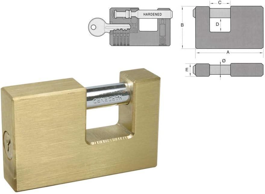 Llave Reversible Alta Resistencia EUROXANTY/® Candado Rectangular de Acero Inoxidable 90 MM x2 Acero Endurecido Alta Seguridad Anti-Corte