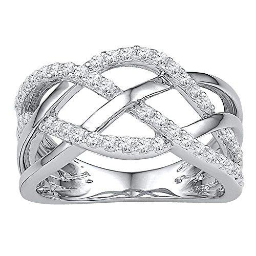 10kt White Gold Womens Round Diamond Woven Crossover Band Ring 1/3 Cttw by Saris and Things