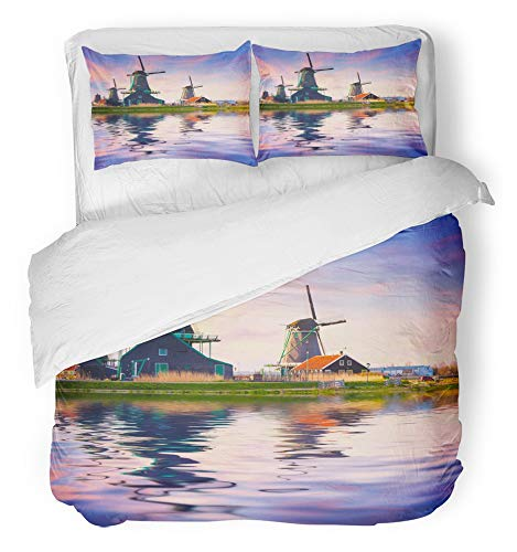 Emvency 3 Piece Duvet Cover Set Breathable Brushed Microfiber Fabric Authentic Zaandam Mills on The Water Channel in Zaanstad Village Zaanse Schans Bedding Set with 2 Pillow Covers Full/Queen Size