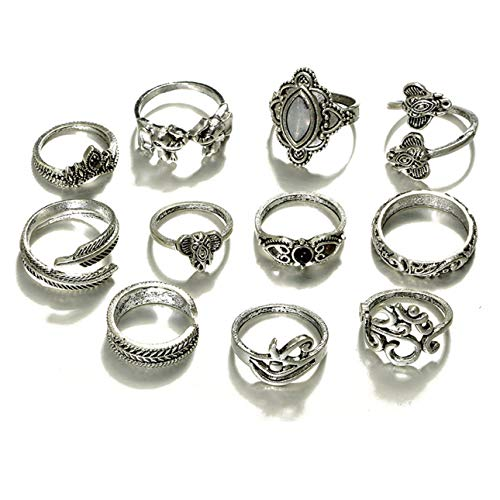 Smartlove1P 11pcs/Set Simple Exquisite Style Fashinable Elephant Vine Leaf Lotus Rings