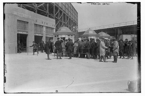 Photo: Fans,ticket booths,Yankee Stadium,right field grandstand,baseball,crowds,men