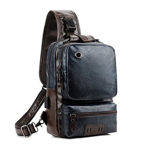 - Vintage PU Leather Crossbody Bag For Men Sling Bag Large Capacity Casual Office Travel Backpack With External USB Charge and Earphone Outdoor Cross Body Bag Blue