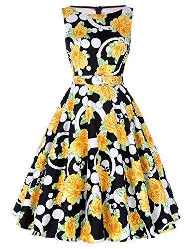 (Belle Poque Floral Print Evening Party Dress for Women A-line L, Floral-11 )