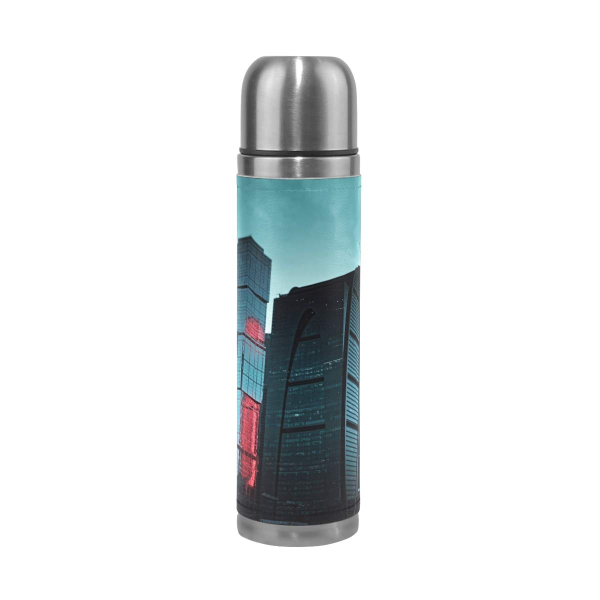 Skyline Street Night Window 500ML Stainless Steel Double Walled vacuum insulated water bottle Travel Mug Leather Cover Thermos 17 oz