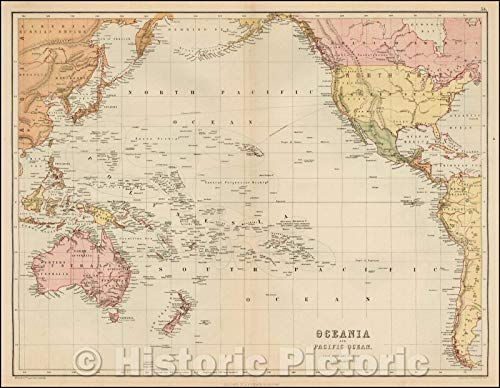 Historic Map | Oceania and Pacific Ocean from Admiralty Surveys, 1869, Adam & Charles Black | Vintage Wall Art 44in x 34in