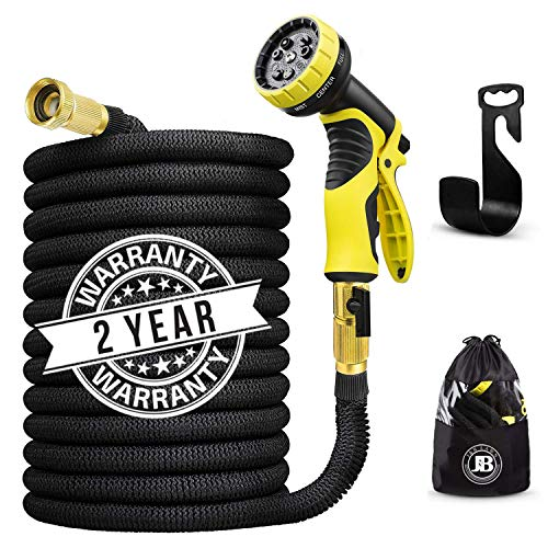 J&B XpandaHose 75ft Expandable Water Garden Hose with Holder - Heavy Duty Triple Layered Latex Core and Free 10 Spray Nozzle with Storage Bag - Light Weight Flexible and Solid Brass Ends (Best Rated Expandable Garden Hose)