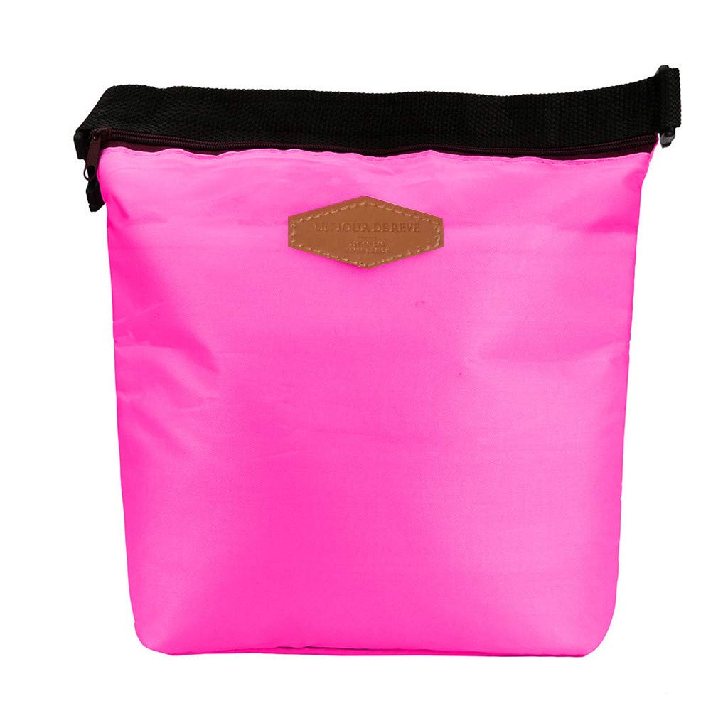 HighlifeS Lunch Bag Waterproof Thermal Fashion Cooler Insulated Lunch Box More Colors Portable Tote Storage Picnic Bags (Hot pink)