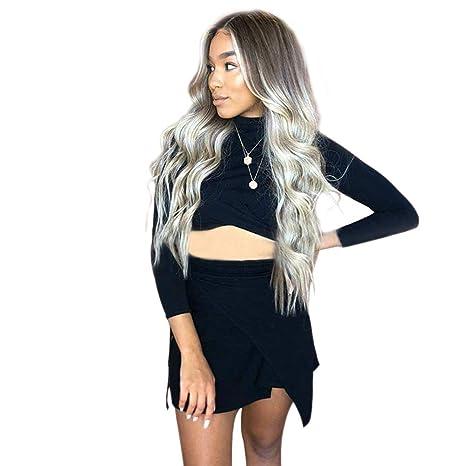 Peluca de pelo humano natural YEMOCILE, largo, color gris oscuro, resistente al calor