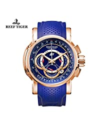 Reef Tiger Mens Chronograph Sport Rose Gold Blue Dial Rubber Strap Quartz Watches RGA3063