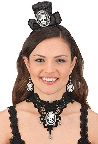 Jacobson Hat Company Skull Cameo Mini Hat Headband, Choker & Earrings