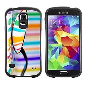 LASTONE PHONE CASE / Suave Silicona Caso Carcasa de Caucho Funda para Samsung Galaxy S5 SM-G900 / Pattern Colors Stripes Orange Blue