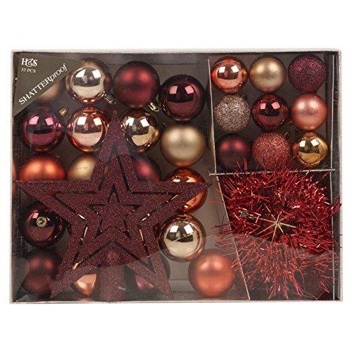 ristmas Tree Decoration 33 Piece Set Baubles Accessories Xmas Balls Ornaments (Maroon) ()
