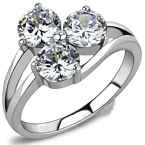 Flower Cubic Stone - Jude Jewelers Stainless Steel Three-Stone Wedding Engagement Anniversary Ring (Silver, 10)