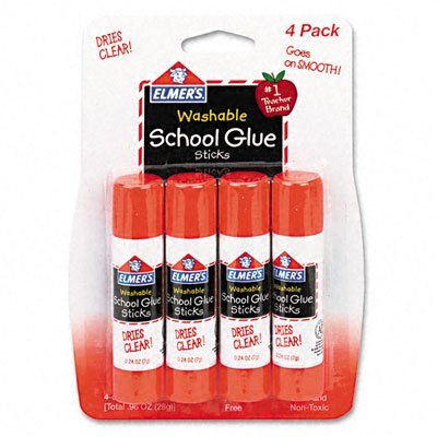 Elmer`s : Washable School Glue Sticks, .24 oz, Repositionable Stick, Four per Pack -:- Sold as 2 Packs of - 4 - / - Total of 8 (0.24 Ounce Repositionable Stick)