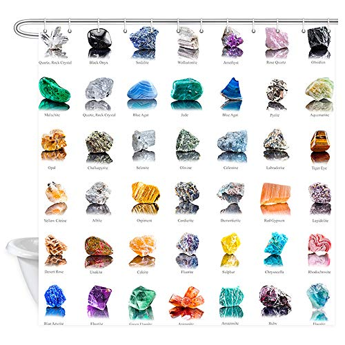 (NYMB Collection Decor Gemstones Stones and Minerals with Names on White Background Shower Curtain, Waterproof Polyester Zen Chakra Bathroom Decorations, Bath Curtains Hooks Included, 69X70inches )