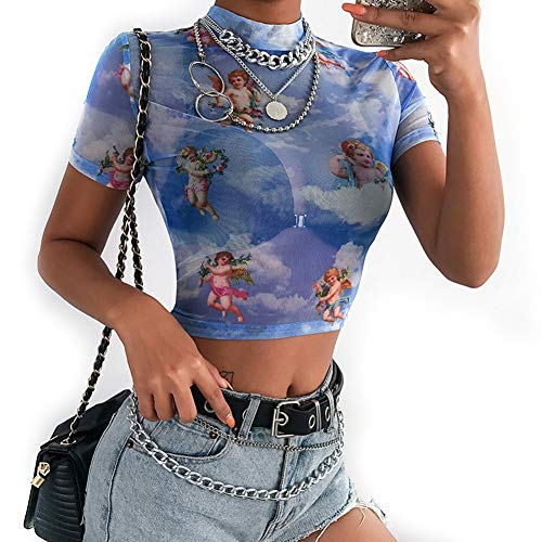 PESION Women Short Sleeve See Through Sheer Mesh Crop Top Sexy Trendy Angel Print T-Shirt -