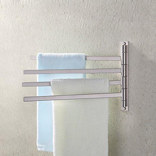 KES Bath Towel Holder Swing Hand Towel Rack SUS 304 Stainless Steel Bathroom Swivel Towel Bar 4-Bar Folding Hanger Holder RUSTPROOF Wall Mount Brushed Finish, BTH200S4-2