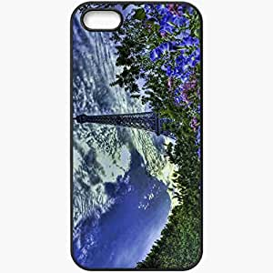 Protective Case Back Cover For iPhone 5 5S Case Paris Flowers Beauty Sky Black