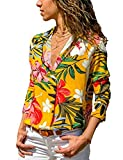 PARIS HILL Women V Neck Botton Up Floral Color Print Long Sleeve Casual Blouses Tops Yellow X Large