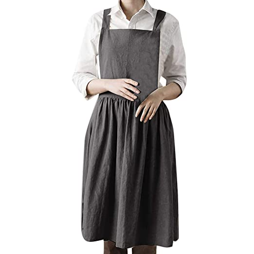 487fbfc5f288 WARMSHOP Women s Solid Casual Loose Pinafore Dress Linen Soft Sleeveless  Home Cooking Square Collar Cute Apron