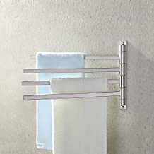 KES SUS 304 Stainless Steel Swing Out Towel Bar 4-Bar Folding Arm Swivel Hanger Bathroom Storage Organizer Rustproof Square Style Wall Mount Brushed Finish, BTH200S4-2