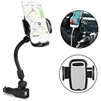 Car Phone Holder, Amoner 3-In-1 Cigarette Lighter Car Mount Charger Holder Cradle with Dual USB 2.1A Charging Ports for iPhone, Samsung Galaxy and More Smartphones