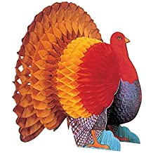 """Amscan Colors of Autumn Thanksgiving Party Turkey Honeycomb Centerpiece Table Decoration, Multicolor, 15"""""""