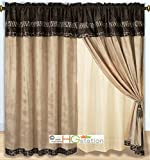 4-Pc Micro Faux Fur Animal Skin Zebra Giraffe African Safari Curtain Set Brown Valance Drape Liner Tieback