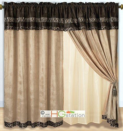 Kenya Zebra (4-Pc Micro Faux Fur Animal Skin Zebra Giraffe African Safari Curtain Set Brown Valance Drape Liner)