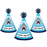 Shark Zone - Mini Cone Jawsome Shark Party Birthday Party Hats - Small Little Party Hats - Set of 10
