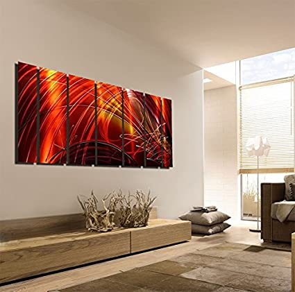 Amazon.com: Extra Large Contemporary Metal Wall Art - Red, Gold ...